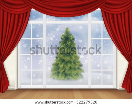 The view from the living room through a window with red curtains on the street, where there is a Christmas tree. Realistic vector background for greeting card. - stock vector