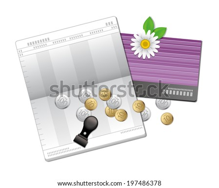 The view of bank book  - stock vector