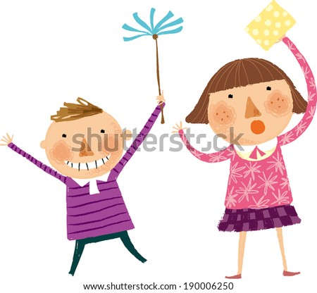 The view of children are cleaning  - stock vector