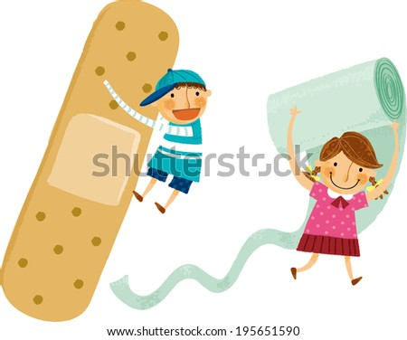 The view of children are holding a band  - stock vector