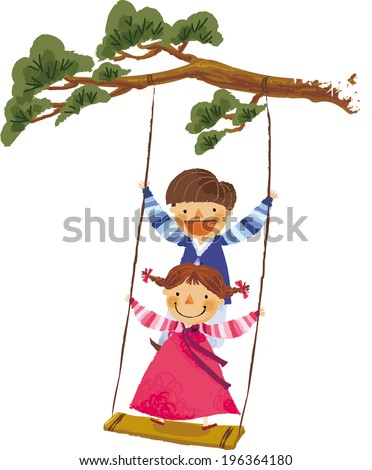 The view of children play on the swings  - stock vector