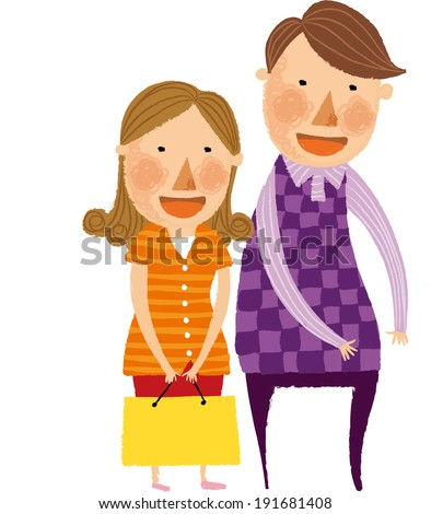 The view of couple is standing  - stock vector
