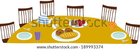 The view of dinner table  - stock vector