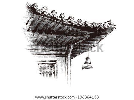 The view of eaves of Korean-style house  - stock vector
