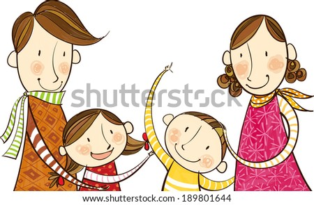 The view of family  - stock vector