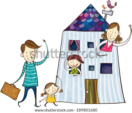 The view of family at home  - stock vector