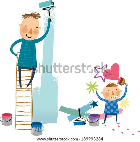 The view of father and son are painting  - stock vector