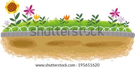 The view of flower garden  - stock vector