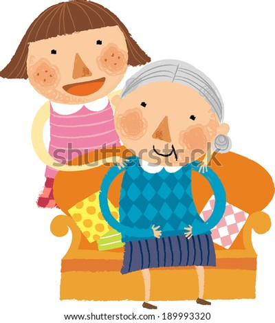 The view of granddaughter is massaging grandmother   - stock vector