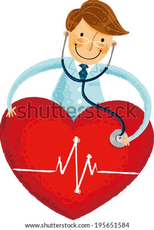 The view of heart with doctor  - stock vector