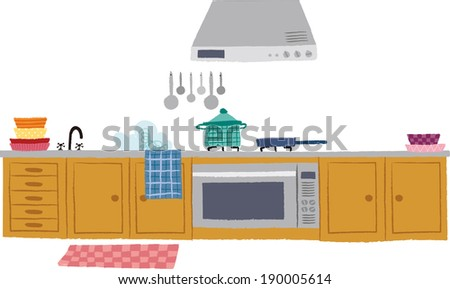 The view of kitchen  - stock vector
