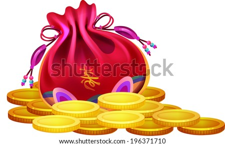 The view of lucky bag with coin  - stock vector