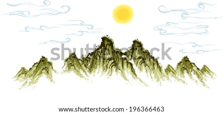 The view of mountain with sun