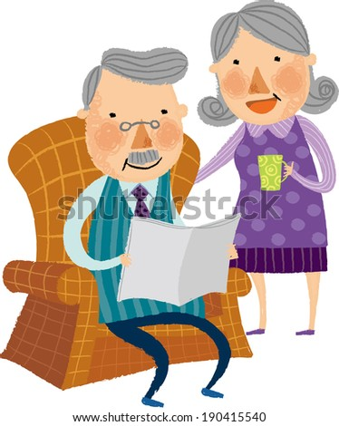 The view of old couple  - stock vector