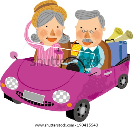 The view of old couple in the car
