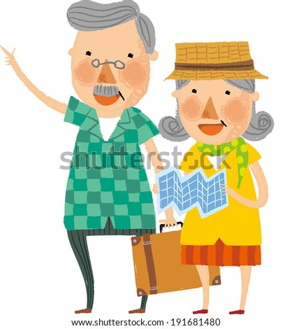 The view of old couple is standing