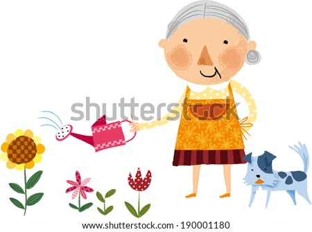 The view of old woman  - stock vector