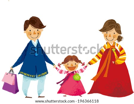 The view of parents are holding a hand of daughter  - stock vector