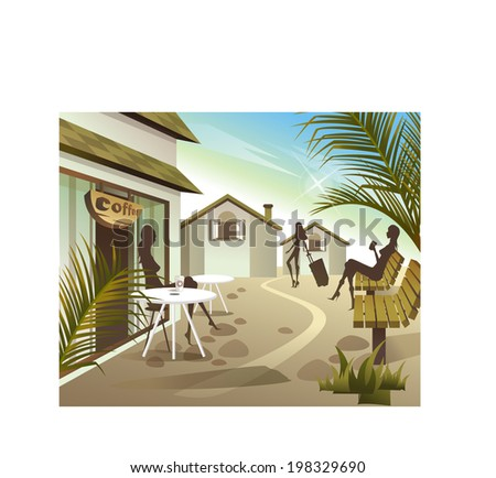 The view of people at the cafe  - stock vector