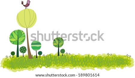 The view of plants with bird  - stock vector