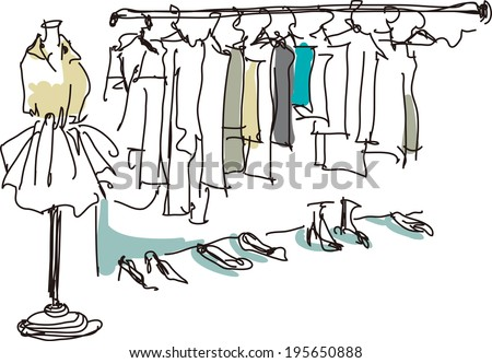 The view of rack with many clothes  - stock vector