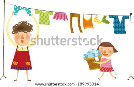 The view of woman is hanging out the laundry  - stock vector