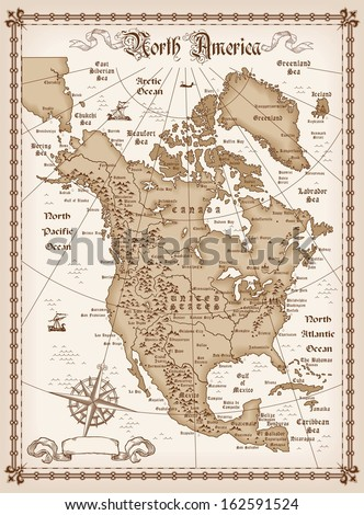 The vintage map of North America vector - stock vector