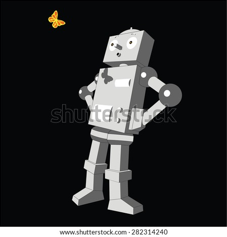 The vintage robot and a butterfly. - stock vector