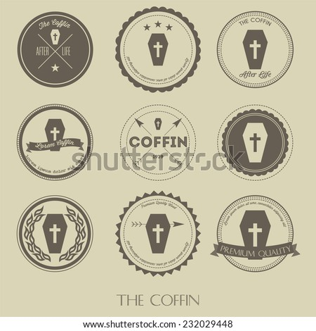 The vintage style of coffin business logo  - stock vector