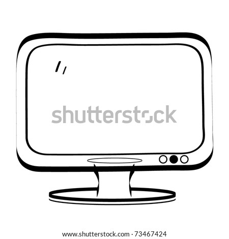 The vintage TV. A children's sketch of the monitor - stock vector