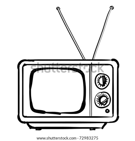 The vintage TV. A children's sketch of the square TV - stock vector