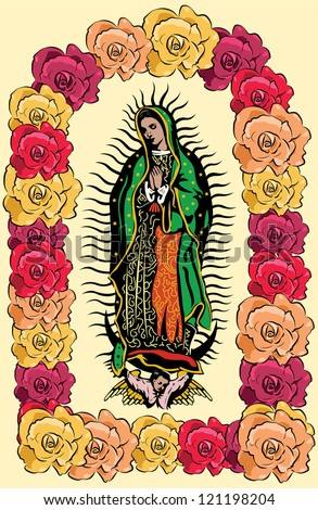 The Virgin of Guadalupe and color roses - vector - stock vector