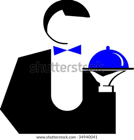 the waiter - stock vector