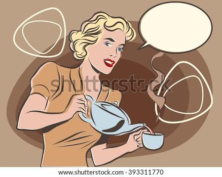 The waitress pours tea pastel retro colors - stock vector