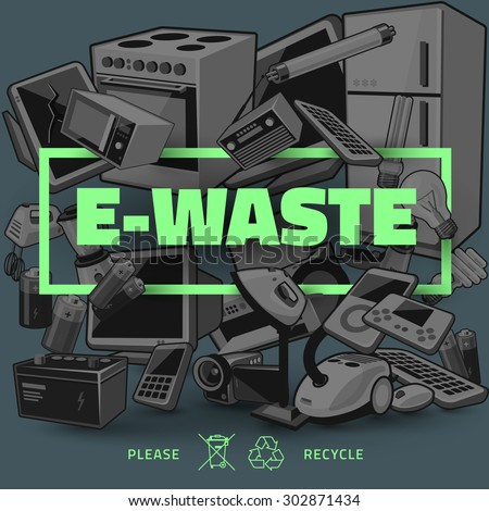 The waste electrical and electronic equipment pile. Computer and other obsolete used electronic waste stack as dark background with green title. Waste management concept. - stock vector