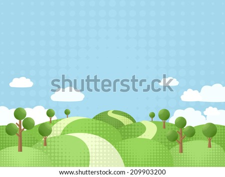 The way between rolling hills. Green trees by edge of country road. Rural landscape with blue sky and clouds. Spotted technique illustration. Copy space. Vector file is EPS8, all elements are grouped. - stock vector