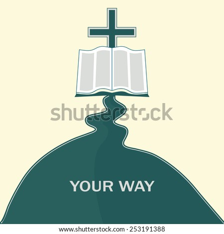 The way to Jesus Christ, through the Bible - stock vector