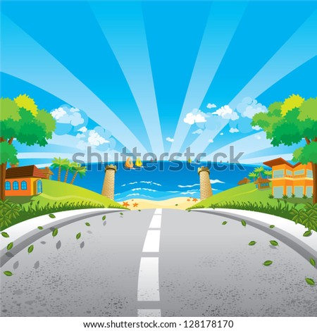 The way to the beach - stock vector