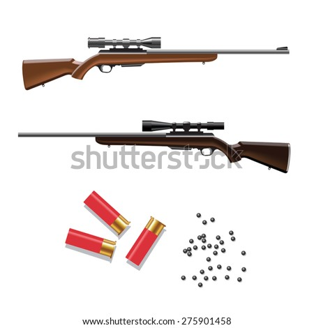 The weapon hunting with cartridges. Vector illustration - stock vector