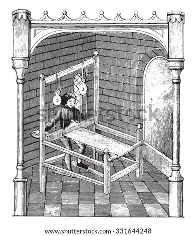 The Weaver, vintage engraved illustration. Magasin Pittoresque 1882.