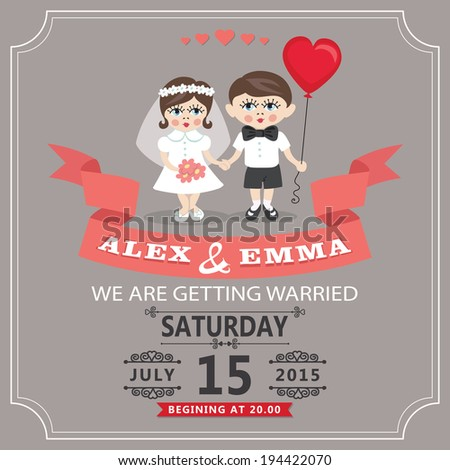 The wedding invitation design template. Cartoon baby couple groom and bride  with balloon,vignettes,ribbon.Funny vector illustration.