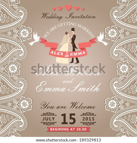 The wedding invitation with groom ,bride in Retro style