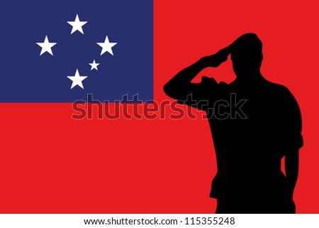 The Western Samoa flag and the silhouette of a soldier saluting