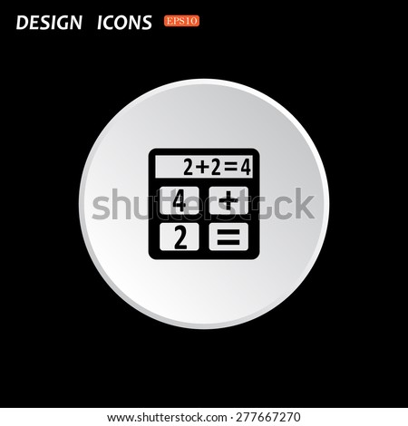 The white circle on a black background. icon calculator. icon. vector design - stock vector