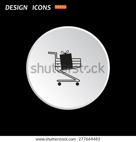 The white circle on a black background. put in shopping cart. icon. vector design
