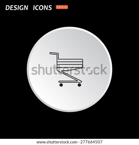 The white circle on a black background. Shopping basket. icon. vector design