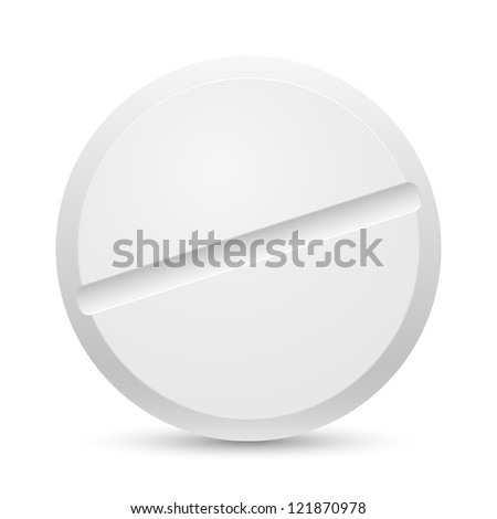 The white Close up tablet on a white background - stock vector