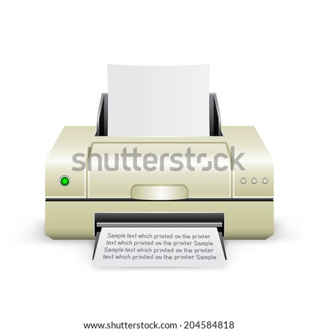 The white inkjet printer on the white background - stock vector