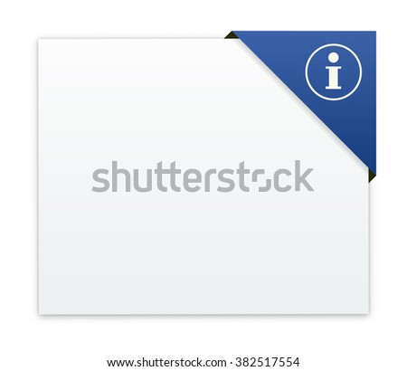 the white label with corner tag and information pictogram / empty box with information icon / information template - stock vector