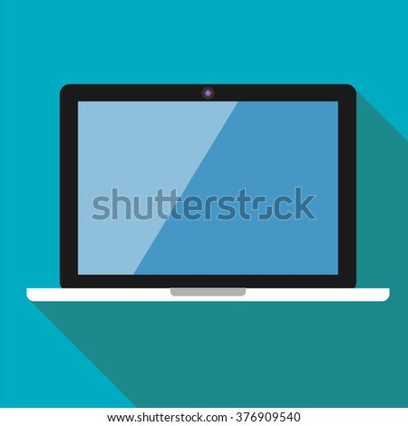 The white laptop on a blue background in flat style - stock vector